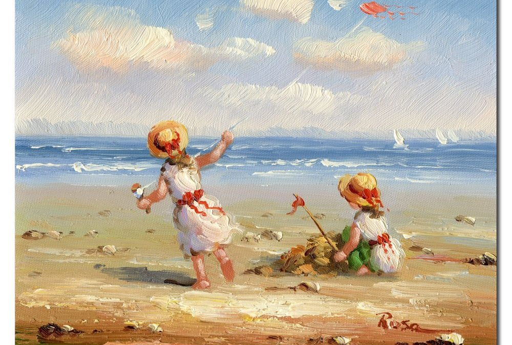 At the Beach I by Master's Art, 26×32-Inch Canvas Wall Art