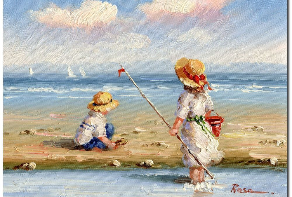 At the Beach III by Master's Art, 26×32-Inch Canvas Wall Art